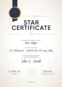Certificato ufficiale per comprare una stella con coordinate e nome della tue stella
